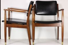 Vintage Pair Mid-Century Modern Office Library Chairs Indiana Chair Co FREE SHIPPING