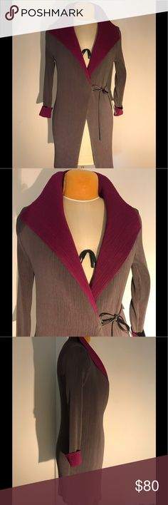 Vanite Couture sweater Gently worn Vanite Couture grey and plum pleated sweater with pockets.  This is a beautiful statement piece!!! Vanite Couture Sweaters Cardigans