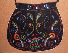 Vintage Black Half Kitchen Apron Bright Embroidered Design Ric Rac 2 Pockets | eBay