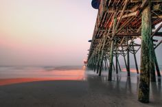 """The voice of the surf heard now and then was a positive pleasure, like the speech of a brother. It was something natural, that had its reason, that had a meaning."" (Heart of Darkness – Joseph Conrad)  pier   seashore  ocean  South Carolina"
