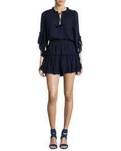 Ximena+Tiered+Ruffled+Mini+Dress+by+MISA+Los+Angeles+at+Neiman+Marcus.