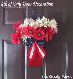 Top 25 of July Porch Decor Ideas Fourth Of July Decor, 4th Of July Decorations, 4th Of July Party, 4th Of July Wreath, July 4th, Dollar Tree Gift Bags, American Flag Crafts, Target Decor, Dollar Store Crafts