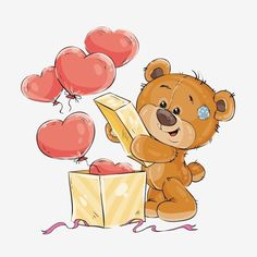 Notebook: Cute Teddy Bear With Love Heart Balloons In Box, Lined Notebook, Large Size - Letter, Wide Ruled Tatty Teddy, Teddy Bear Cartoon, Cute Teddy Bears, Cute Cartoon, Valentines Illustration, Cute Illustration, Cute Animal Drawings, Cute Drawings, Cute Images