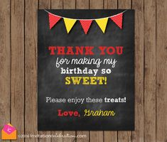 Red and Yellow Chalkboard Thank You Sign - PRINTABLE - Mickey Mouse - Boy - Digital - First Birthday - Favor Sign by InvitationCeleb on Etsy  https://www.djpeter.co.za
