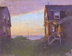 """Sundown, Twin Houses, Monhegan,"" Peter Poskas, 2011, oil on panel, 8 x 10-3/16"", Spanierman Gallery."