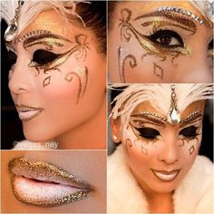 Rhinestone accented eye brows highlight a sparkly gold masquerade makeup mask.
