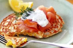 Wake up the ones you love with this gourmet breakfast idea of smoked salmon on a bed of beautiful corn pancakes.
