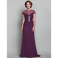 Sheath/Column Jewel Chiffon And Tulle Mother of the Bride Dress (493636)