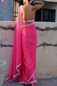 Buy Pink Printed Chiffon Lace Saree Online in India Saree Backless, Lace Saree, Pink Saree, Saree Blouse Neck Designs, Saree Models, Chiffon, Indian Beauty Saree, Indian Sarees, Sexy Blouse