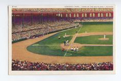 chicago white sox, comiskey park, illinois, baseball, postcard ephemera, sports via Etsy