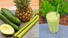 Zielone koktajle: ogórek + seler naciowy + awokado + ananas + cytryna + trawa pszeniczna