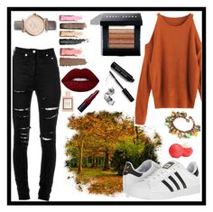"""""""Autumn is Here"""" by thewizardingworld ❤ liked on Polyvore featuring Yves Saint Laurent, adidas, FOSSIL, Bobbi Brown Cosmetics, Lime Crime, Eos, Gucci, Fall and autumn"""