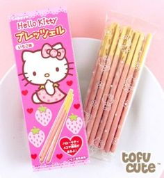 ♥ P O C K Y!! ♥ delicous japanese snack~☆ Hello Kitty pocky by Sanrio. . .strawberry flavor. . .cute packaging. . .pastel. . .kawaii