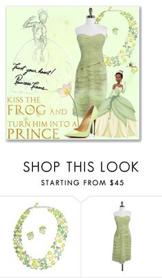 """Princess Tiana ♡"" by astriddt ❤ liked on Polyvore featuring Kay Unger New York, Christian Louboutin, Disney, disney, princess, disneybound and Tiana"