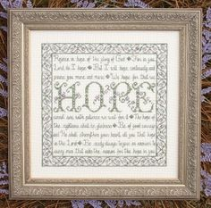 My Big Toe Designs Building Blocks - Hope - Cross Stitch Pattern. From My Big Toe Designs' Building Block Series - Rejoice in the glory of God. For in you, Lord Cross Stitch Alphabet, Cross Stitch Samplers, Counted Cross Stitch Patterns, Cross Stitch Designs, Cross Stitching, Cross Stitch Embroidery, Blackwork Patterns, Embroidery Patterns, Stitching Patterns