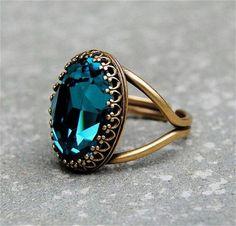 Vintage aqua marine golg victorian Ring