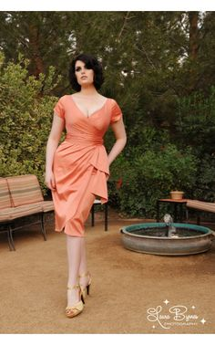 Ava Dress in Tangerine - 1960s Inspired - Collections | Pinup Girl Clothing