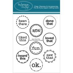 Technique Tuesday-Clear Stamps. Bring a positive attitude to your paper crafts! These stamps are made of the highest quality photopolymer. This package contains Been There Flair: a set of nine clear stamps on one 4x3 inch backing sheet. Price €9,99