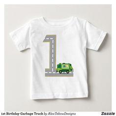 1st Birthday Garbage Truck Baby T-Shirt, street number, green - Alex Tebow Designs