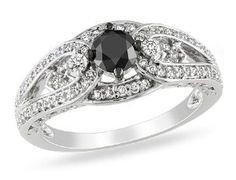 14k White Gold 3/4 CT TDW Black and White Diamond Engagement Ring (G-H, I1-I2) Amour. $739.99