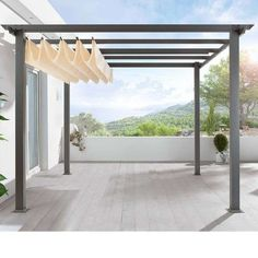 For the outdoor or patio landscaping the pergola gazebos are mostly used and being famous in people especially for shading in the garden or deck purposes. Some rooftop pergola gazebos designs are very charming in regard in shades. As the shade covers Pergola Canopy, Backyard Pergola, Pergola Shade, Pergola Cover, Cheap Pergola, White Pergola, Canopy Outdoor, Deck Shade, Garden Shade