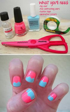 Easy nail tutorial for zig zag :D