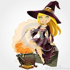 Witch sit on grave with the boiler of potion