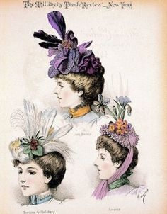 Victorian plates of hats for women.