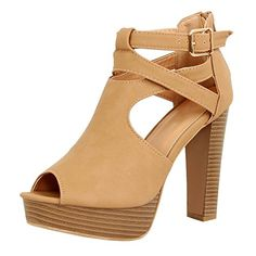 89a0c826f2a Guilty Shoes Womens Cutout Gladiator Ankle Strap Platform Fashion High Heel  Stiletto Sandals Heeled Sandals B(M) US