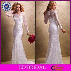 2014 Beautiful Organza See Through Slim Fit Lace Long Sleeves Wedding Dresses