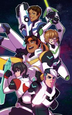 Lance, Pidge, Hunk, Keith and Shiro Voltron Team from Voltron Legendary Defender