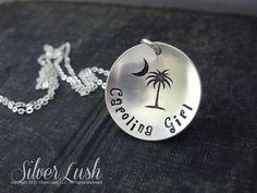 Sterling Silver Hand Stamped Carolina Girl Necklace by SilverLush, $35.00