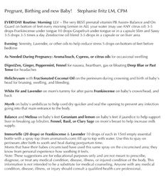 DoTerra cheat sheet for pregnancy! Essential Oils to Help with Pregnancy, Labor and Your Newborn.   Where to buy essential oils: www.thepaleomama.com/essential-oils