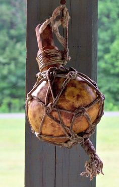 Mountain Man Primitive Gourd for Carrying Lead Ball Ammo or Blackpowder Ball Bag Muzzleloader