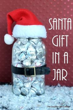 Santa Mason Jar Fill the jar with Hershey Kisses and decorate it like a handsome Santa!