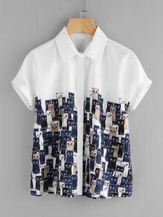Cartoon Cats Print Cuffed Shirt -SheIn(Sheinside)