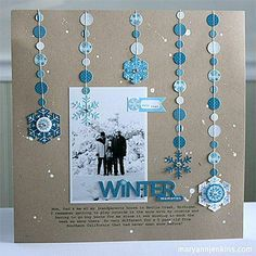 WINTER SCRAPBOOK IDEA Scrapbook Layouts, Scrapbooking, Craft Projects, Projects To Try, Circle Garland, Papercraft, Garlands, Circles, Page Layout