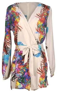 You are the master of your own style!  Not only is it comfy but it's also super chic with it's ornamental tie and partially casual style! Well, fight no more! This multicolor printing romper is here to save the day!