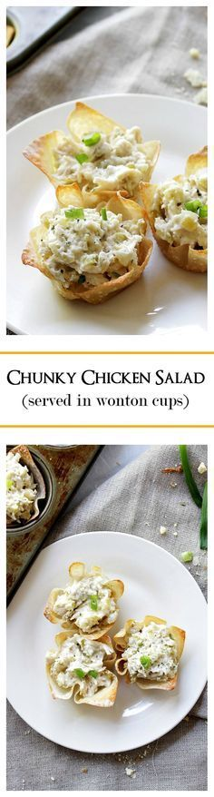 Chunky chicken salad mixed with pickles, mushrooms and sour cream.