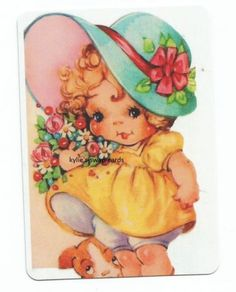 Y15-SINGLE-swap-playing-cards-PRETTY-VINTAGE-STYLE-LITTLE-GIRL-flowers-hat-2