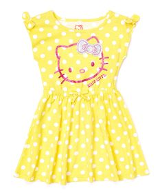 This Aspen Gold Polka Dot Hello Kitty Skater Dress - Toddler by Hello Kitty is perfect! #zulilyfinds