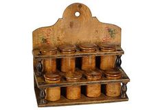 19th-C. French Fruit Wood Spice Rack