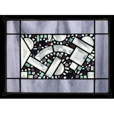 "Edel Byrne creates this artistic, Antique Lilac Geometric Border Stained Glass. This piece can be hung vertically or horizontally. Handmade in the USA. * Sizes and Prices Available: A. 14""L. x 10""W. -"