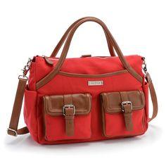 Elizabeth Red Canvas-diaper bag