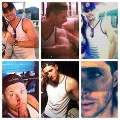 Jensen is having a tank-top wearing selfie-fest on twitter this weekend. He's practically naked! Jensen arm porn.