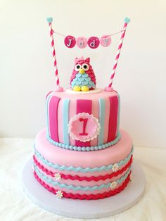 Owl 1st Birthday - Stripe and chevron owl cake and smash cake,the topper was inspired by AimeeJane Design that my client request. Thanks for looking :)  -- likes my page https://www.facebook.com/myglorioustreats