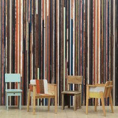 Piet Hein Eek and NLXL scrapwood wallpaper is available on Dutch Design Only. Wood Wallpaper, Striped Wallpaper, Pattern Wallpaper, Wallpaper Pictures, View Wallpaper, Beautiful Wallpaper, Wall Fires, Shabby Chic Colors, Madeira Natural