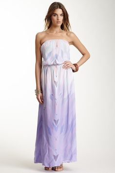 Silk Geometric Print Maxi Dress. Love the colors and the ombre effect :)