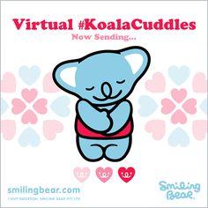 Having a bad day? Virtual #KoalaCuddles To The Rescue!    Animated version here: http://smilingbear.com/blog/having-a-bad-day-virtual-koalacuddles-to-the-rescue    #smilingbear #smilemore #koala #koalabear #bear #smile #smiling #happy #cute #kawaii #australia #aussie #sydney #beach #japan #art #design #illustration #characterdesign #fun #meme #internet #otaku #plush #iphonesia #kawaiigurls #kawaiioftheday #koalacuddles #animated #gif