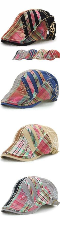 [Shipping free!] Women Men Cotton Washed Beret Cap Lines Stripe Adjustable Buckle Newsboy Cabbie Hat